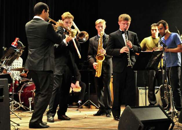 Greenwich High School students , Ben Albano, Vince Urbanowski and Peter Russell perform John Coltrane's âÄú26-2âÄù with Yasek Manzano's trumpet band in Cuba in April, 2014. Photo: Picasa, Contributed Photo / Greenwich Time Contributed
