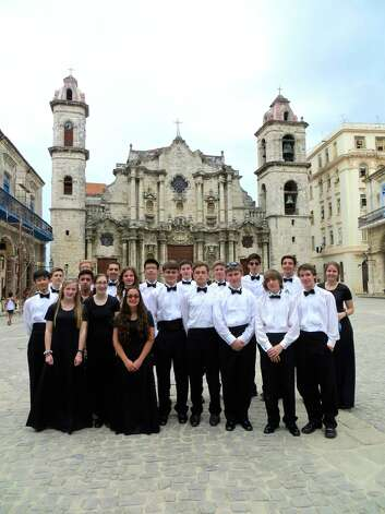 Members of the Greenwich High School jazz ensemble gather in front of the cathedral in Old Havana during their trip to Cuba in April 2014. Photo: Contributed Photo / Greenwich Time Contributed