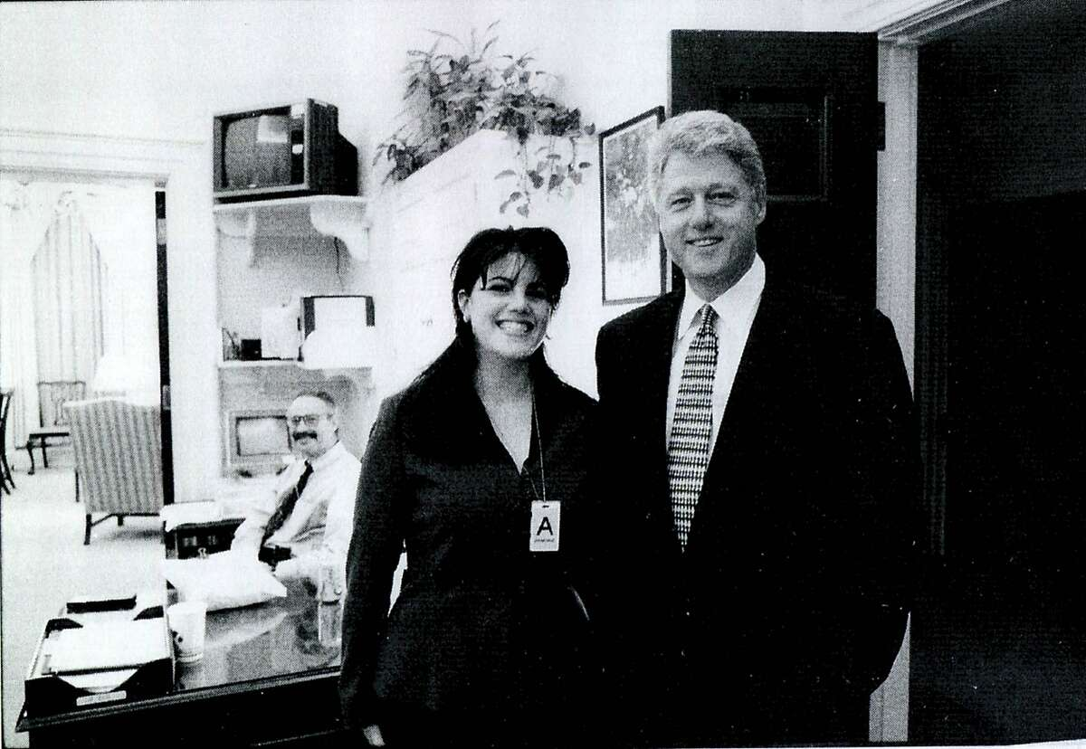 FILE - 2014 MAY 6: Vanity Fair will publish an article by Monica Lewinsky on her affair with former President Bill Clinton after a decade of silence on the ordeal. A photograph showing former White House intern Monica Lewinsky meeting President Bill Clinton at a White House function submitted as evidence in documents by the Starr investigation and released by the House Judicary committee September 21, 1998.