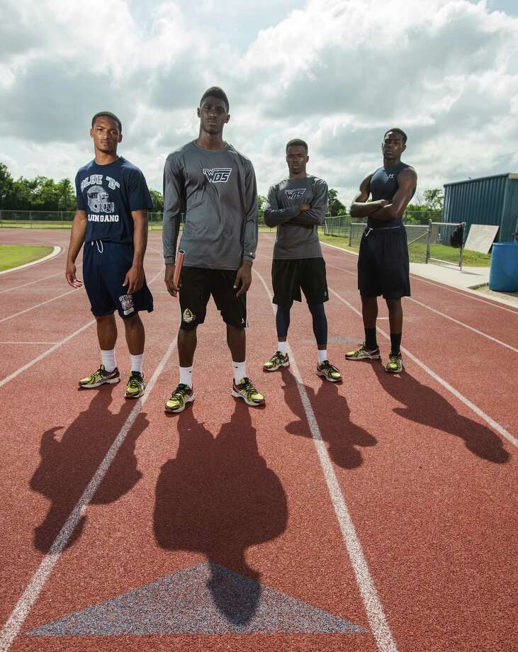 Chris James, Deionte Thompson, Thomarcus Fontenot, and Johnny Shaw, left to right, comprise the West Orange-Stark 4x200-meter relay team. West Orange-Stark High School is sending athletes to Austin for the track state finals in several events, including the 4x200-meter relay.