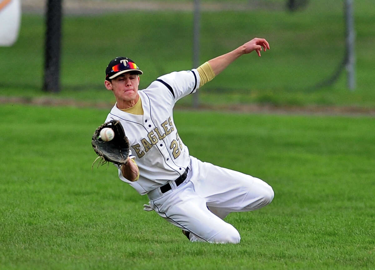 Trumbull's Liam Moore, during baseball action against Westhill in Trumbull, Conn. on Wednesday May 7, 2014.