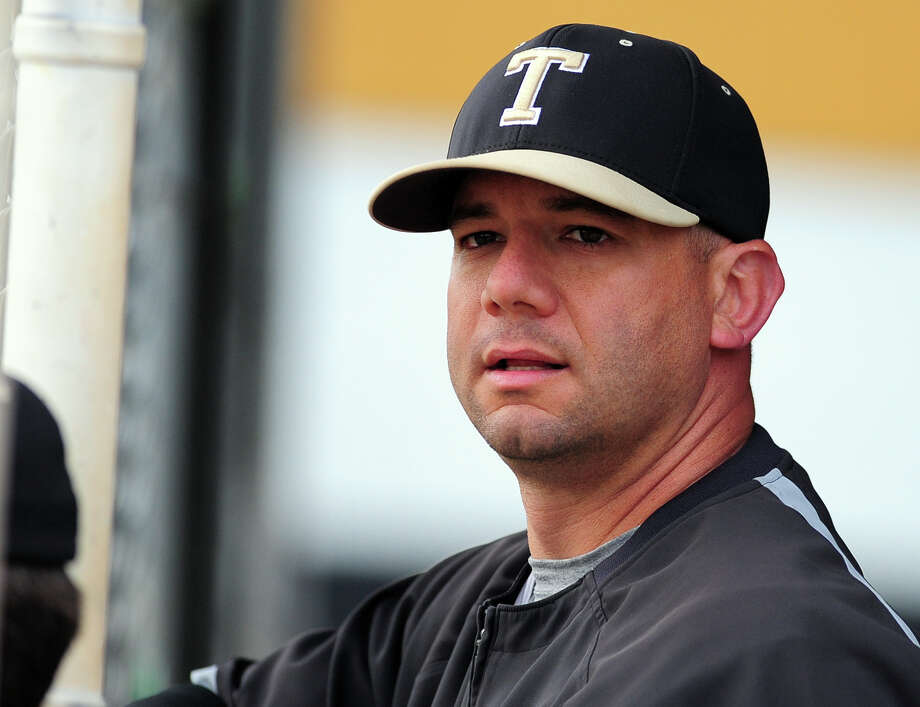 Trumbull Head Coach Phil Pacelli, during baseball action against Westhill in Trumbull, Conn. on Wednesday May 7, 2014. Photo: Christian Abraham / Connecticut Post