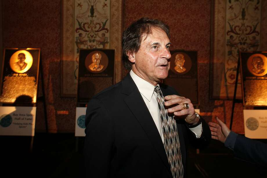 Tony La Russa, above, headlines a BASHOF class that includes Jim Hines, Bob Lurie, Bob Ladouceur and Owen Nolan. Photo: Lacy Atkins, SFC