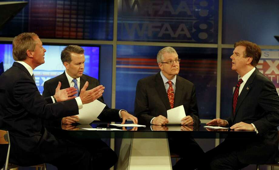 May 7, 2014: Lt. Governor David Dewhurst, left,  and state Senator Dan Patrick, right, debate for the GOP lieutenant governor race, hosted by reporter Jason Whitely, second from left, and Ross Ramsey of the Texas Tribune at WFAA studio in Dallas. (AP Photo/Star-Telegram, Khampha Bouaphanh) Photo: Khampha Bouaphanh, Associated Press / Star-Telegram