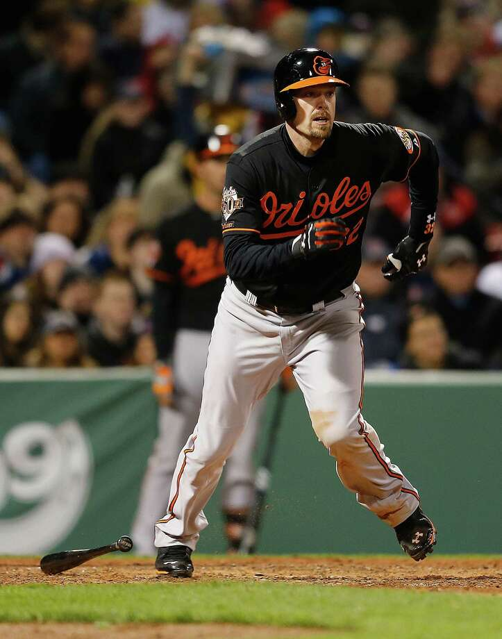 BOSTON, MA - APRIL 18:  Matt Wieters #32 of the Baltimore Orioles knocks in a run against the Boston Red Sox in the fifth nning at Fenway Park on April 18, 2014 in Boston, Massachusetts.  (Photo by Jim Rogash/Getty Images) Photo: Jim Rogash, Stringer / 2014 Getty Images