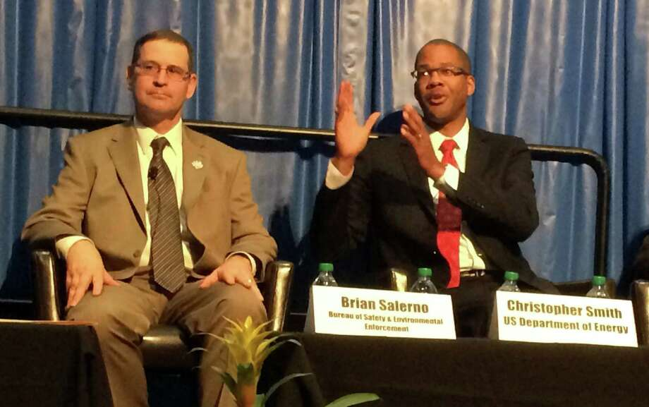 Brian Salerno, who announced a new Houston technology center serving the federal offshore safety agency he heads, listens to fellow panelist Christopher Smith, assistant energy secretary for oil and gas, during an OTC panel this week. Photo: Jennifer A. Dlouhy