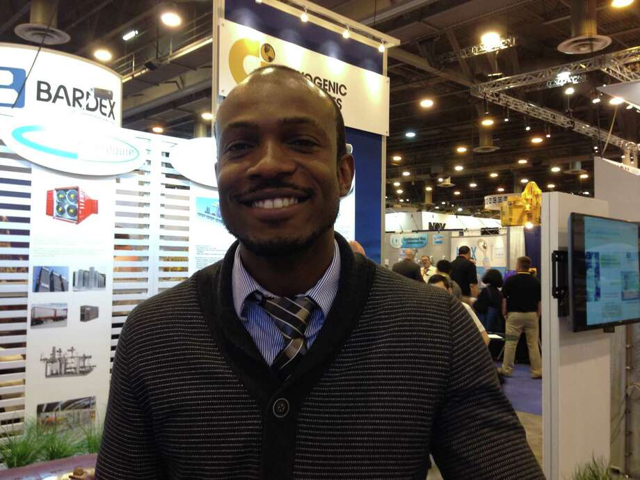 Ayo Alaiyegbami, University of Louisiana in Lafayette petroleum engineering graduate student, was at the Offshore Technology Conference in Houston in hope of landing a job. Photo: L.M. Sixel