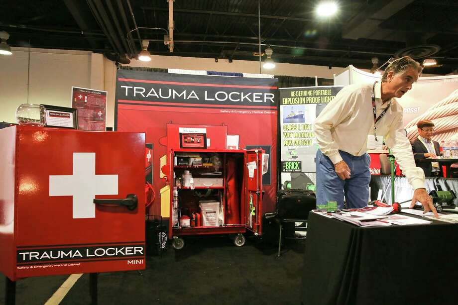 Trauma Locker, which is doing its grand rollout at the Offshore Technology Conference, offers safety medical cabinets and training and a recycling program. Photo: Thomas B. Shea, Freelance / © 2014 Thomas B. Shea