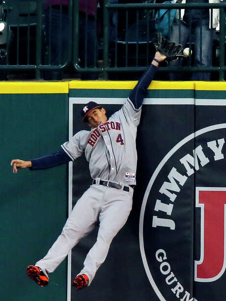 It wasn't for lack of effort that Astros right fielder George Springer failed to come up with a two-run homer by the Tigers' Miguel Cabrera in the first. Photo: Duane Burleson, Stringer / 2014 Getty Images