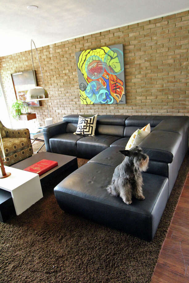 Bentley the dog is perched on the end of the black leather sofa, which came from Copenhagen, along with the Arco lamp.  A contemporary painting on the wall adds a burst of color to the room in the home of Marlon Quinones and 