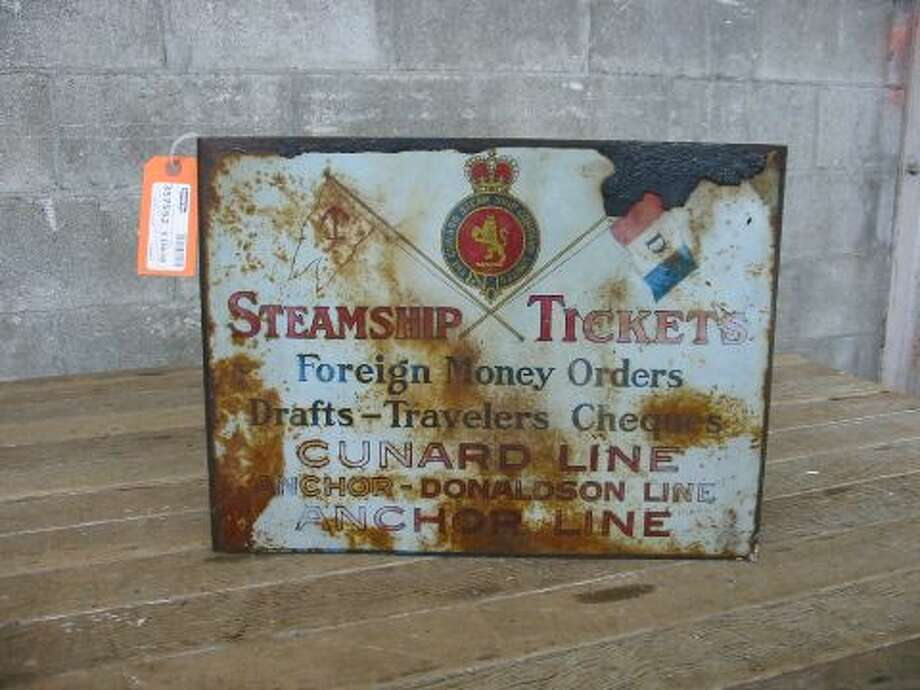 """Cunard Line Steamship Tickets Sign ... Double sided sign, shows rust and wear. Great colors and the graphics are still clear! Great collector's piece of the Steamship Age!"" Price: $150. Photo: Second Use"