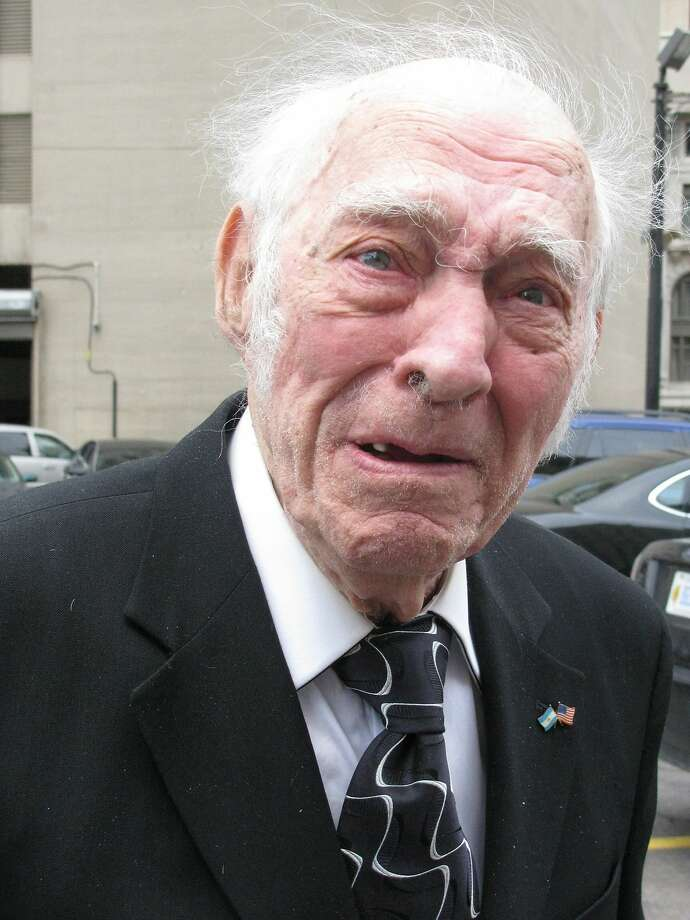 Ninety-year-old drug 'mule':Leo Sharp heads to U.S. District Court for sentencing on drug-trafficking charges in Detroit.   A judge sentenced the Indiana man and World War II vet, who turned 90 Wednesday, to three   years in prison for hauling more than a ton of cocaine to Michigan for drug dealers. Photo: Ed White, Associated Press
