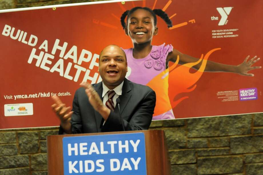 Assemblyman Karim Camara introduces youths from New York City YMCA clubs who do an exercise routine at the Healthy Kids Day Advocacy Event on Wednesday, May 7, 2014, at the Legislative Office Building in Albany, N.Y. (Cindy Schultz / Times Union) Photo: Albany Times Union