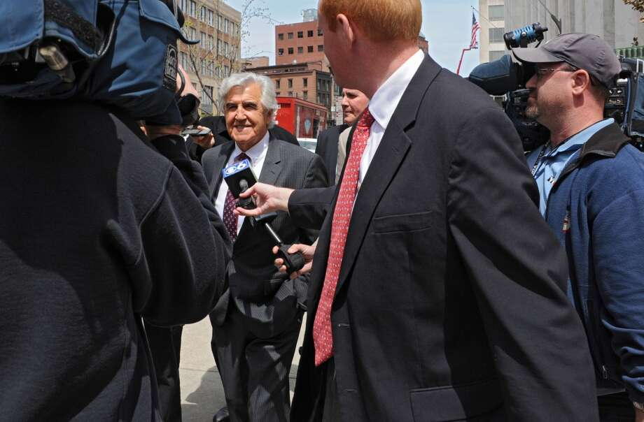 Former state Senate Majority Leader Joseph Bruno is surrounded by media as he leaves the James T. Foley U.S. Courthouse during a lunch break from the resumption of his corruption trial on Wednesday, May 7, 2014 in Albany, N.Y.  (Lori Van Buren / Times Union) Photo: Albany Times Union