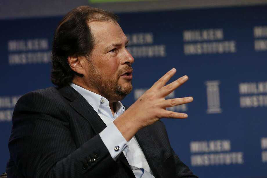 Salesforce CEO Marc Benioff will reap the rewards of his company's recent success. Photo: Patrick T. Fallon, Bloomberg