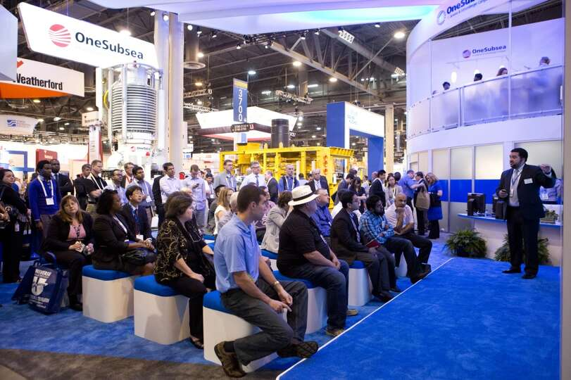 The OneSubsea booth still active on the final day of OTC  providing presentations to the attendees,