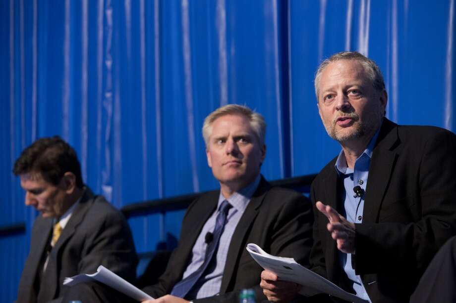 Panelists (left to right) Bob Buck, Tom Ayers, and Gary Fischer discuss the future and complexity of offshore development during the A Look Back at Offshore Megaprojects panel, Thursday, May 8, 2014, at the 2014 Offshore Technology Conference in Houston. ( Marie D. De Jesus / Houston Chronicle ) Photo: Marie D. De Jesus, Houston Chronicle