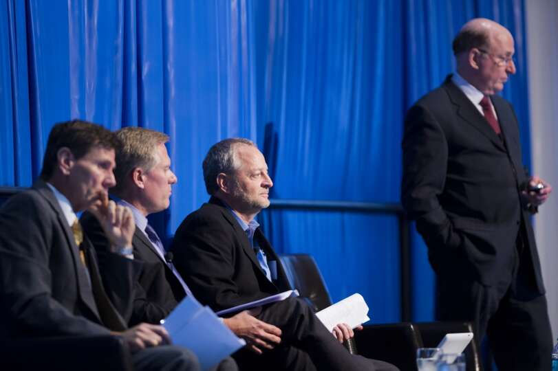 Panelists (left to right) Bob Buck, Tom Ayers, Gary Fischer and moderator Richard Westney discuss th