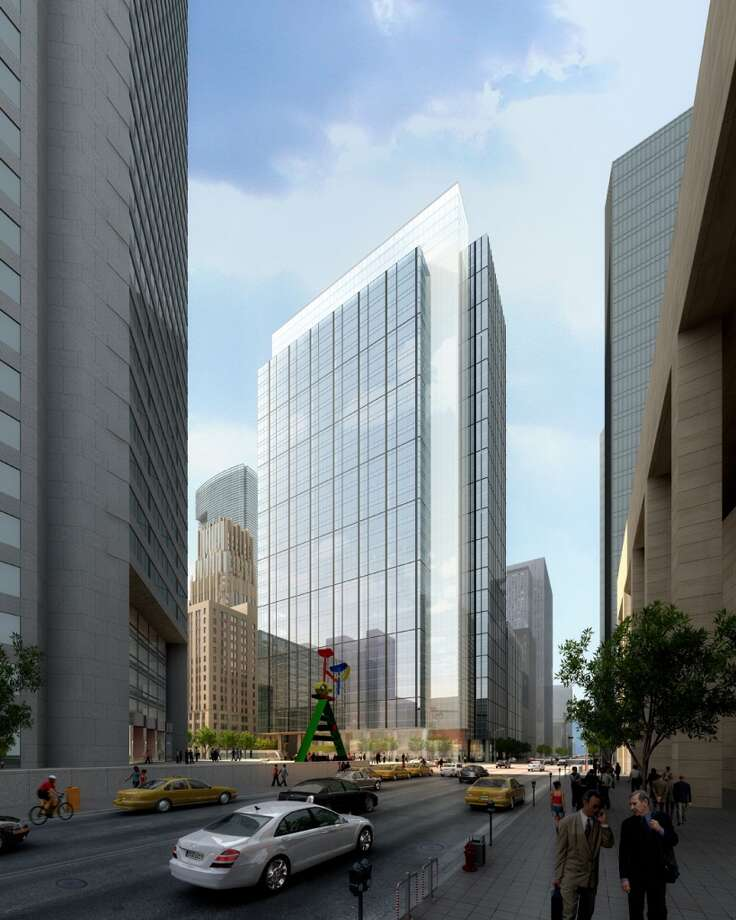 Rendering of Skanska USA Commercial Development plans to replace the Houston Club building downtown into a 35-story office tower, tentatively called Capitol Tower. Photo: Gensler Handout, Gensler