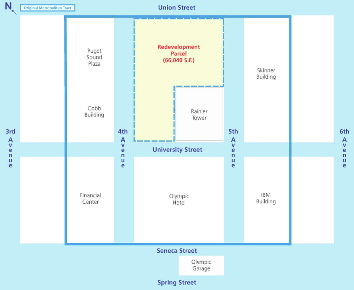 Rainier Square site plan, showing the proposed development and current tower.