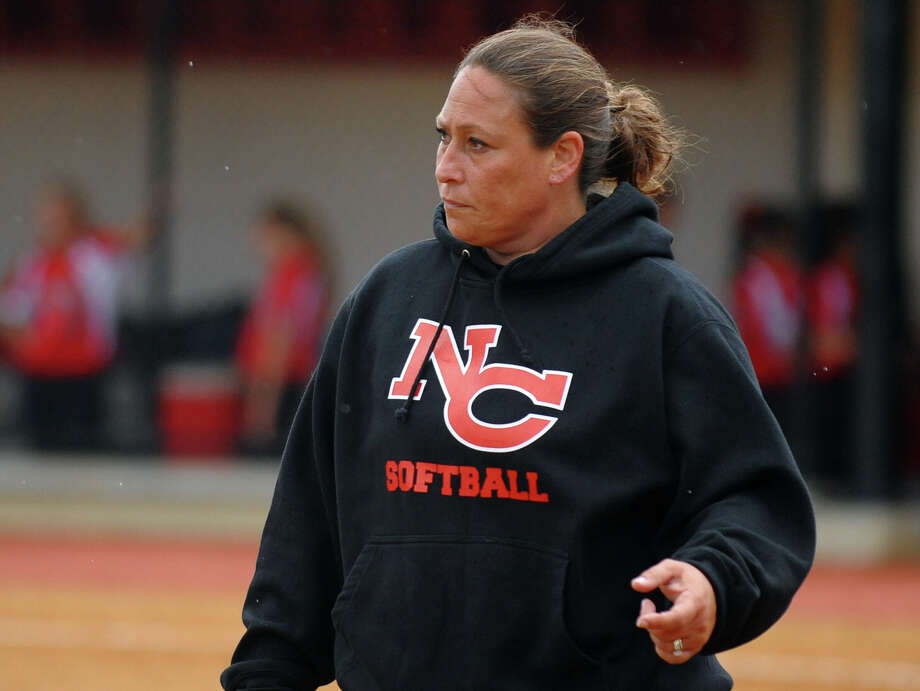 New Canaan Head Coach Danielle Simoneau, during FCIAC Softball Championship action against St. Joseph at Sacred Heart University in Fairfield, Conn. on Thursday May 23, 2013. Photo: Christian Abraham / Connecticut Post