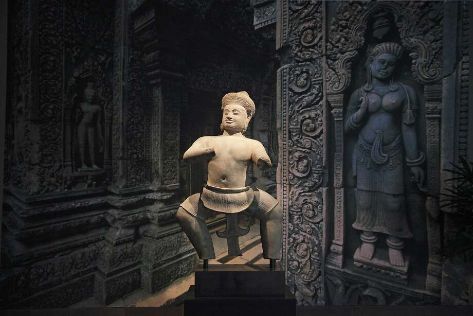 Cambodia's 10th century statue of temple wrestler Bhima, on display at Norton Simon Museum in 2013. Photo: Jae C. Hong, Associated Press