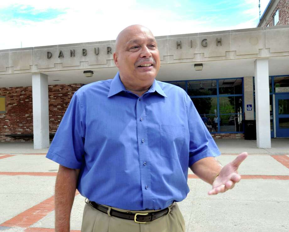 Principal Gary Bocaccio talks outside of Danbury High School. Photo: Michael Duffy, ST / The News-Times