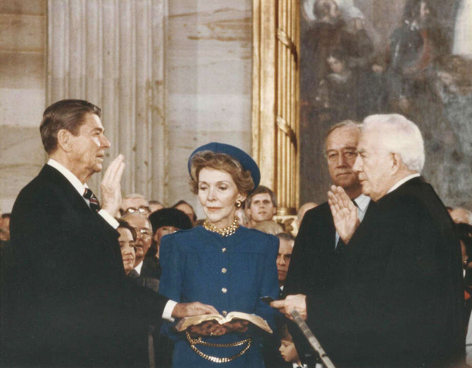 "Would Ronald Reagan recognize this Republican Party or would he say ""There you go again""?  Reagan takes the oath of office from Chief Warren Burger in 1985. Photo: SEN. PATRICK LEAHY, Associated Press / Sen. Leahy"