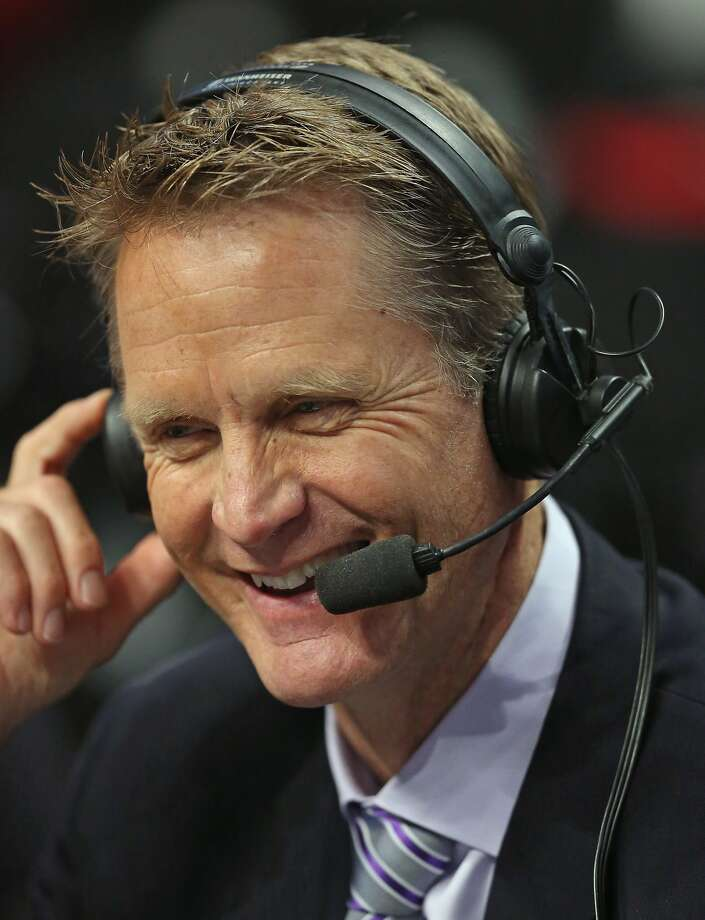 Broadcaster and former NBA player Steve Kerr works the game between the Chicago Bulls and the Washington Wizards in Game Five of the Eastern Conference Quarterfinals during the 2014 NBA Playoffs at the United Center on April 29, 2014 in Chicago, Illinois. Photo: Jonathan Daniel, Getty Images