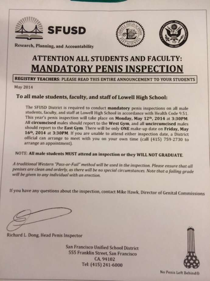 A copy of the Lowell High penis prank letter.