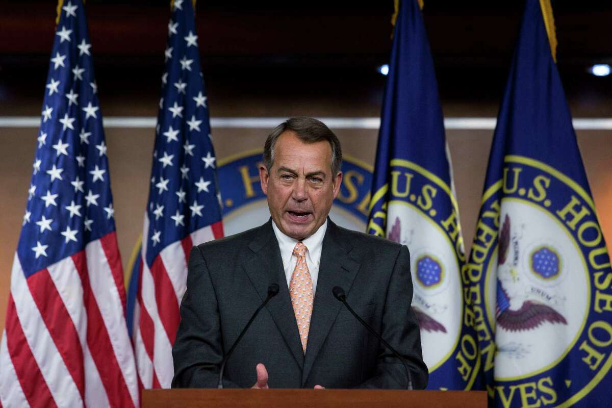 *** BESTPIX *** WASHINGTON, DC - MAY 8: Speaker of the House John Boehner (R-OH) answers questions during his weekly news conference on Capitol Hill, May 8, 2014 in Washington, DC. Boehner fielded questions on the Beghazi probe and Veterans Affairs Secretary Eric Shinseki.