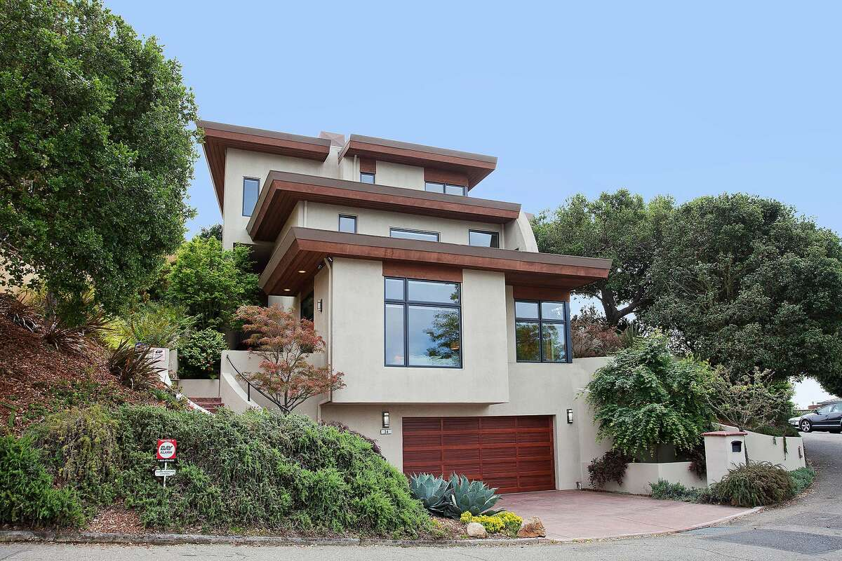 34 Stephens Way in Berkeley is a three-plus bedroom home set on the edge of a private bluff.