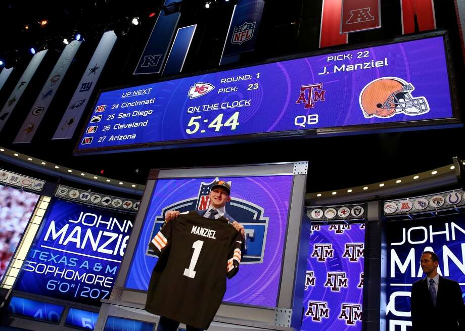 Johnny Manziel of the Texas A&M Aggies poses with a jersey after he was picked #22 overall by the Cleveland Browns during the first round of the 2014 NFL Draft at Radio City Music Hall on May 8, 2014 in New York City. Photo: Elsa, Getty Images