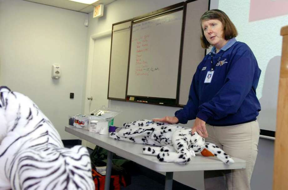 Betty Bernstein, an instructor at GEMS, teaches CPR on a dummy dog as she leads a First Aide/CPR sponsored by GEMS and Adopt-A-Dog November 30, 2009. Pet First Aid and CPR classes are offered monthly at the Greenwich Emergency Medical Service headquarters and include an array of techniques including how to handle CPR, choking and bleeding. Photo: Helen Neafsey / Greenwich Time