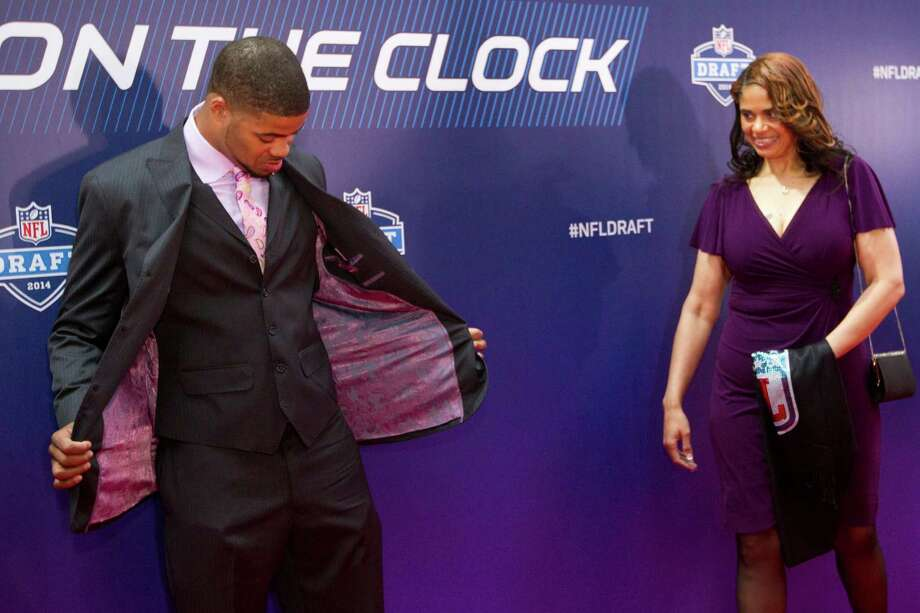 Cody Latimer, of Indiana, poses for photos on the Red Carpet with his mother, Tonya Dunson, during the NFL Draft at Radio City Music Hall Thursday, May 8, 2014, in New York. Photo: Brett Coomer, Houston Chronicle / © 2014 Houston Chronicle