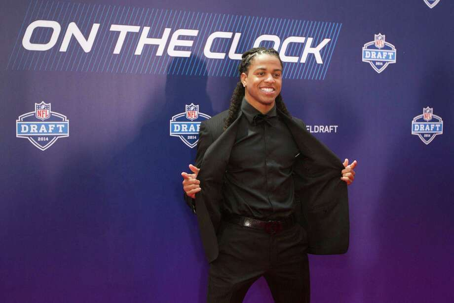 Jason Verrett, to Texas Christian, poses for photos on the Red Carpet before the NFL Draft at Radio City Music Hall Thursday, May 8, 2014, in New York. Photo: Brett Coomer, Houston Chronicle / © 2014 Houston Chronicle