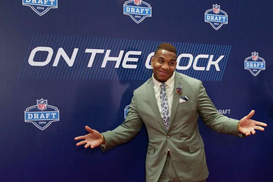 Eric Ebron, of North Carolina, poses for photos on the Red Carpet before the NFL Draft at Radio City Music Hall Thursday, May 8, 2014, in New York. Photo: Brett Coomer, Houston Chronicle / © 2014 Houston Chronicle
