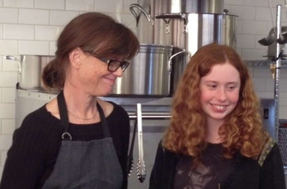 "Kelsie Kerr, chef/owner of Standard Fare in Berkeley, with daughter Ella Heckert, 14. Best parenting advice: ""I think I heard this from Toni Morrison - the first thing to do when you see your child is smile... then start nagging."""