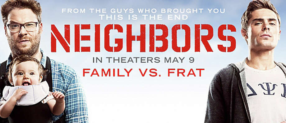 "It's family man Seth Rogen vs. frat boy Zac Efron in the new movie comedy, ""Neighbors."" Photo: Contributed Photo / Westport News"