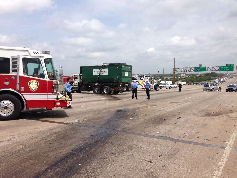 A heavy truck accident shut down all main lanes of the East Loop near the Port of Houston, Friday, May 9, 2014. Photo: Submitted By John Ageitos