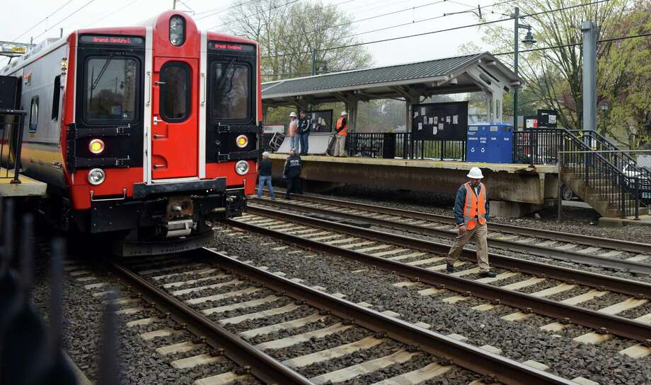 A person was hit by a train around 11 am near the Milford train station Friday, May 9, 2014. The accident caused service delays for both Amtrak and Metro-North. Photo: Autumn Driscoll / Connecticut Post