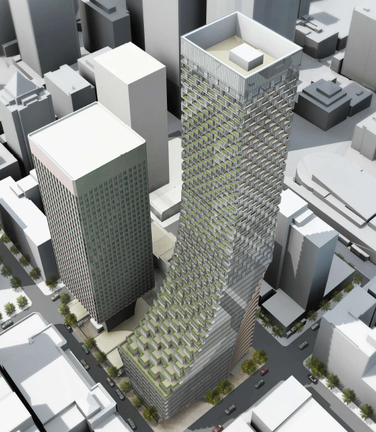 The concept design for redevelopment of the Rainier Square site, beside the existing Rainier Tower, is shown from the northeast in this artist's depiction.