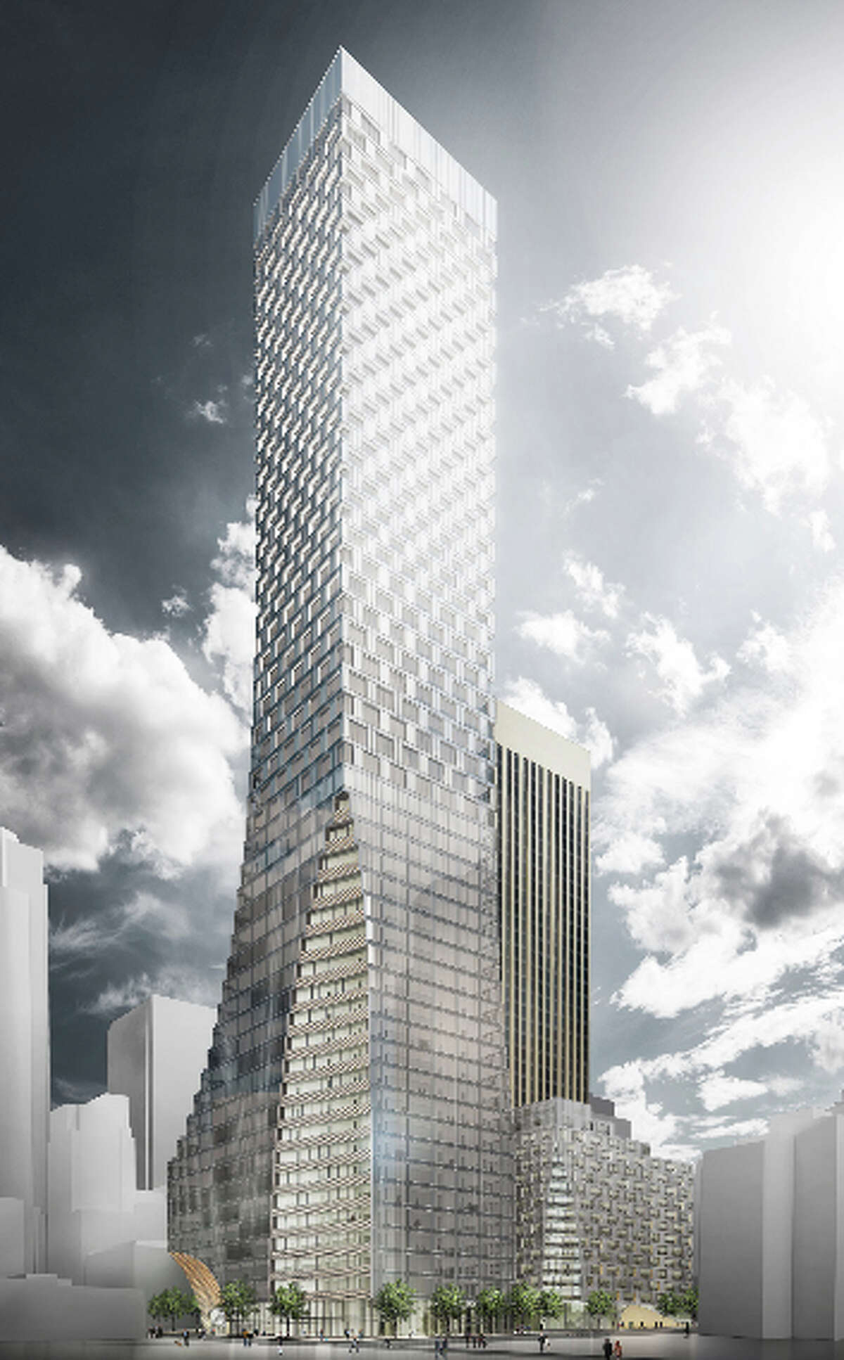 The concept design for redevelopment of the Rainier Square site, beside the existing Rainier Tower, is shown at the corner of Fourth Avenue and Union Street in this artist's depiction.