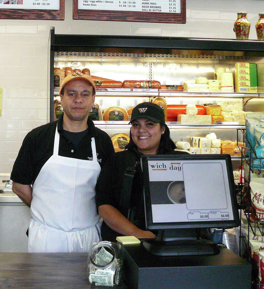 Kevin Tartici and Chastity Bauza welcome customers to the new 'Wich Day sandwich shop, 808 Post Road. Photo: Staff Photo/Gretchen Webster / Fairfield Citizen