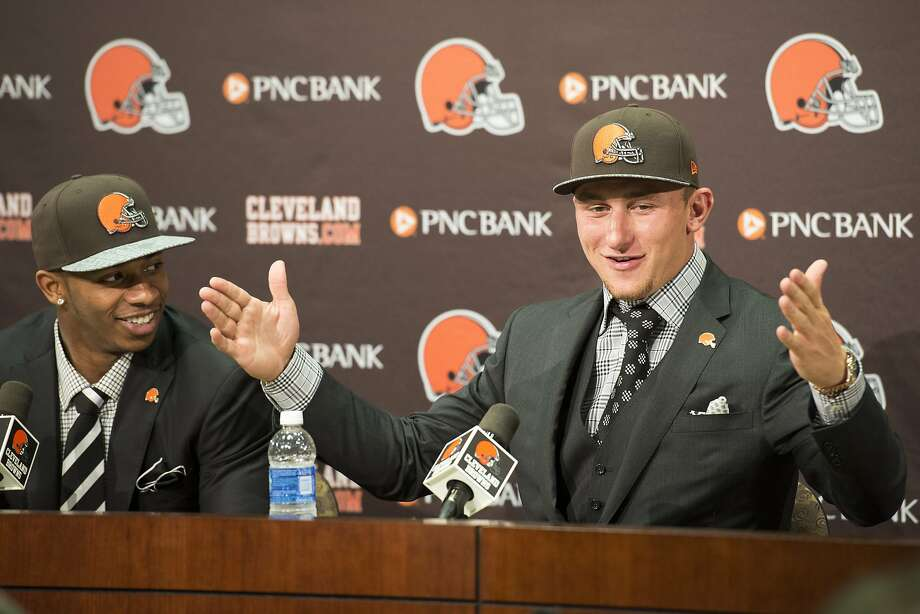 Johnny Manziel meets the press in Ohio a day after the Browns selected him in the NFL draft. Photo: Jason Miller, Getty Images