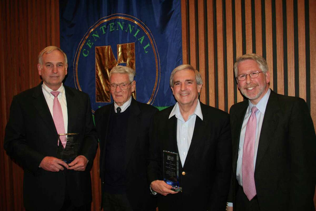 The 2014 William J. Tracey, MD Award recipient Dr. Peter R. Dodds; special guest, Dr. Edward Tracey; award recipient Dr. Eric M. Mazur; and Dr. Howard Eison, chairman, Norwalk Hospital Foundation Board of Directors.