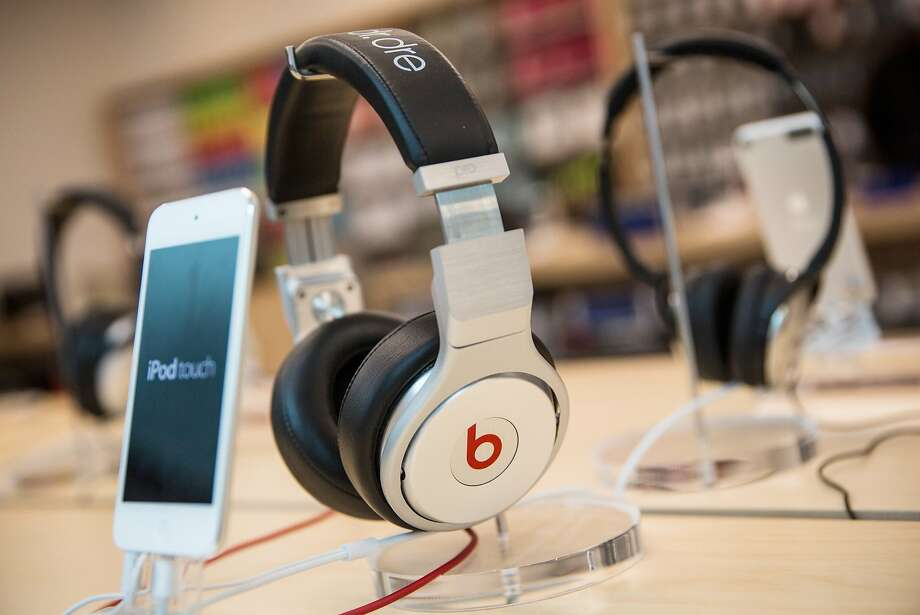 NEW YORK, NY - MAY 09:  Beats headphones are sold along side iPods in an Apple store on May 9, 2014 in New York City. Apple is rumored to be consideringing buying the headphone company for $3.2 billion.  (Photo by Andrew Burton/Getty Images) Photo: Andrew Burton, Getty Images