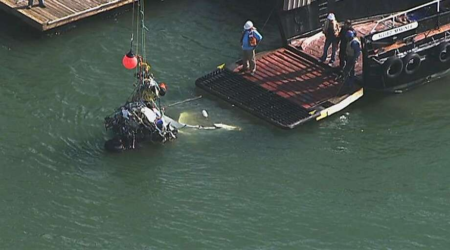 Wreckage from the Cessna is recovered on April 30. The plane was hit by another after a photo shoot near the Golden Gate Bridge on April 27 and plunged into San Pablo Bay, according to a preliminary report. Photo: Associated Press