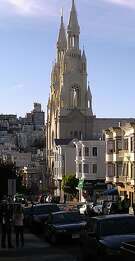 Sts. Peter and Paul Church at Washington Square in North Beach shows that architecture succeeds on multiple levels: it offers neighorhood-wide atmosphere but also fine-grain Gothic details.
