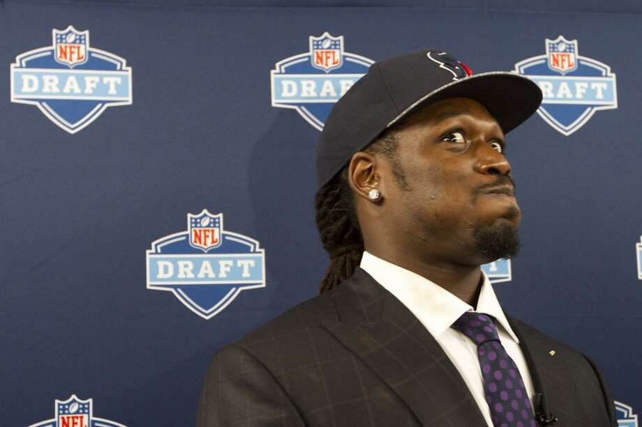 Jadeveon Clowney reacts to a question during a news conference following his selection by the Houston Texans as the No. 1 overall draft pick. Photo: Brett Coomer, Houston Chronicle